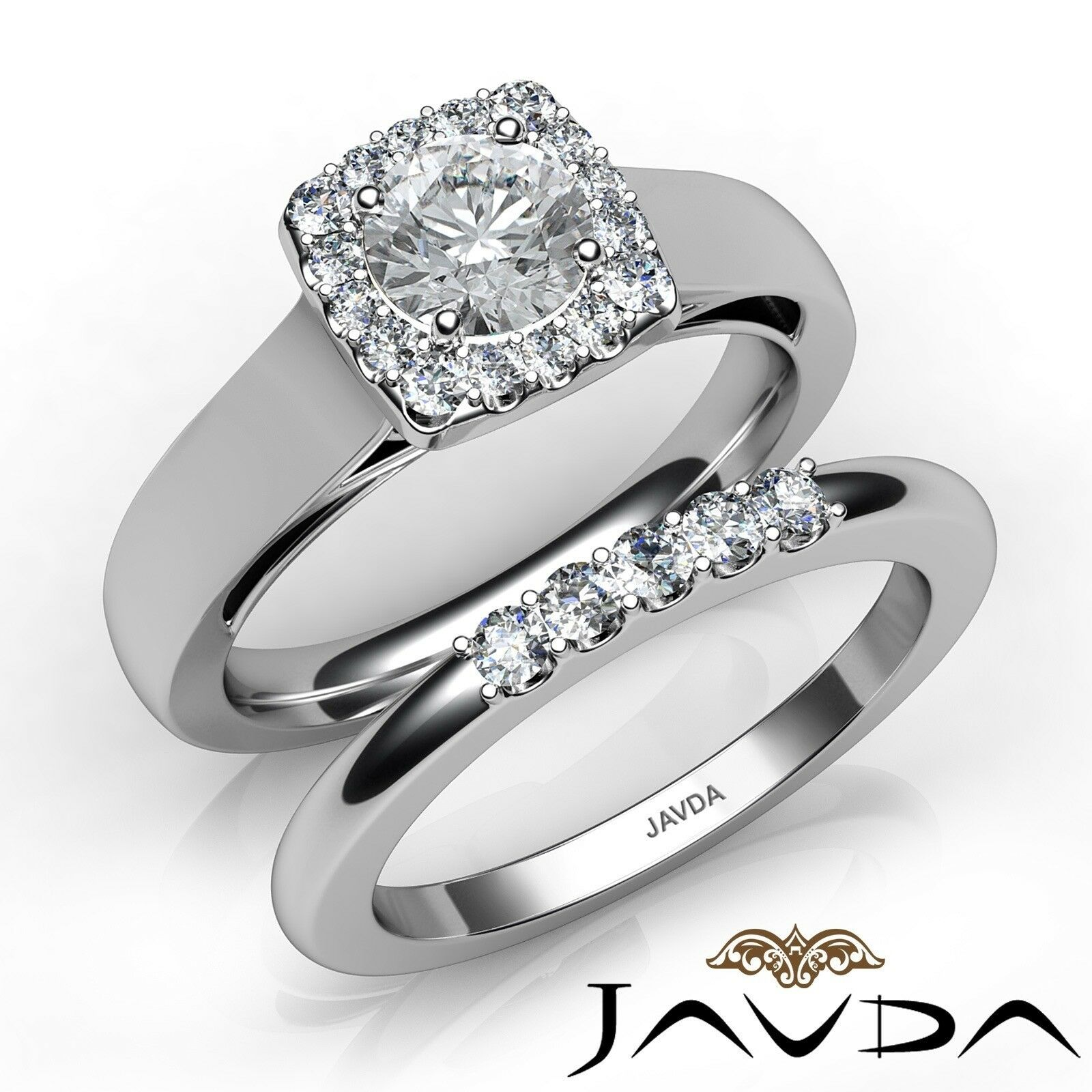 1ctw Halo Filigree Bridal Set Pave Round Diamond Engagement Ring GIA E-VVS2 Gold