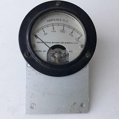 Weston Electrical Amperes D.C Meter Measures 0-5 Amps Model 301    301 301