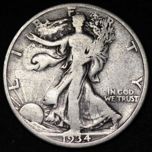 VG 1934-D WALKING LIBERTY SILVER HALF DOLLAR Free Shipping  - $18.50