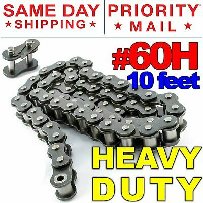 60h Heavy Duty Roller Chain X 10 Feet Free Connecting Link Same Day Shipping