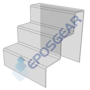 1 3 Step Tier Medium Clear Acrylic Perspex Retail Counter Display Riser Stand