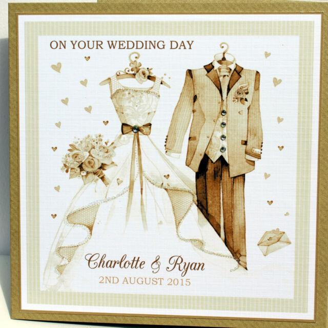 Handmade Personalised Congratulations Wedding Card Bride & Groom oufits