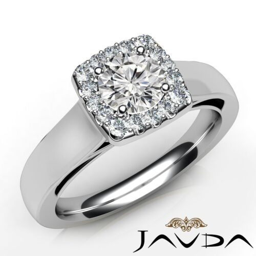 Round Diamond Engagement Halo Prong Classic Ring GIA E VS2 14k White Gold 0.7ct