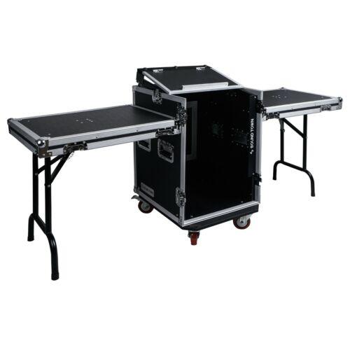 Sound Town 14U PA Rack/Road Case w/ 11U Slant Mixer Top 2 DJ Tables STMR-14UWT2