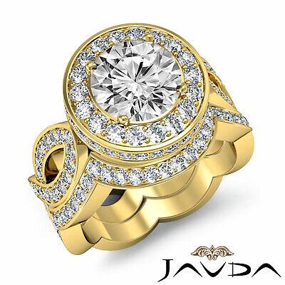 Cross Shank Circa Halo Round Diamond Engagement Pave Set Ring GIA I SI1 2.8 Ct 9