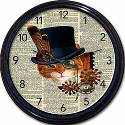 Steampunk Dictionary Cat Wall Clock Victorian Goth Top Hat kitten gears monocle