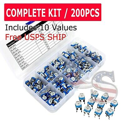 200pcs 10 Values Potentiometer Trimpot Variable Resistor Assortment Box Kit