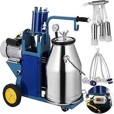 25l Electric Milking Machine For Goats Cows Wbucket 2 Plug 12cowshour Milker
