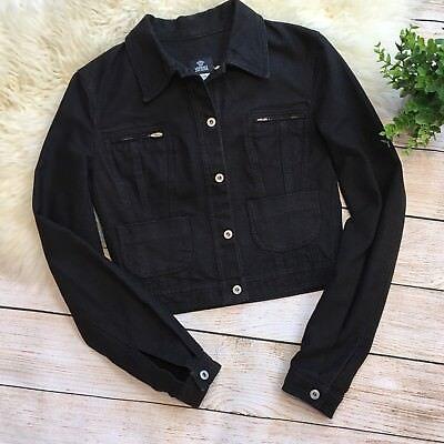 Versace Jeans Couture Black Denim Jean Jacket Women's XS Vintage