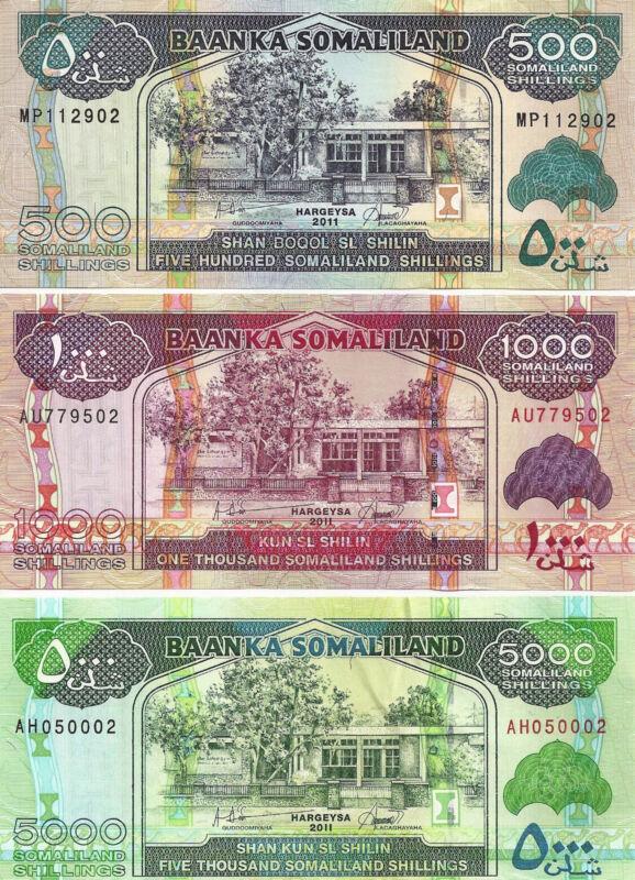Somaliland 500,1000 & 5000 Shillings 2011  Uncirculated 3 Notes