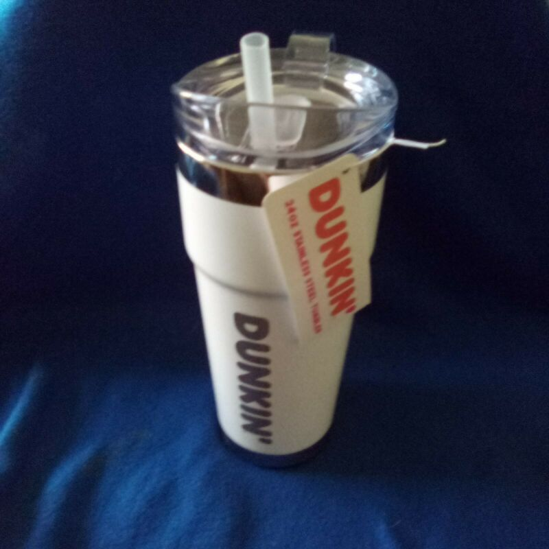DUNKIN DONUTS 24oz Travel Mug/Tumbler Stainless Steel Brand New 2020 White