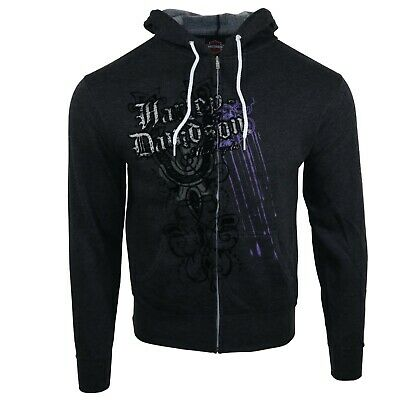 Unisex Harley Davidson Embroidery Graphic Charcoal Hoodie Sweatshirts Tops HJS 6
