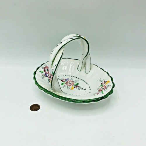Hand Painted Ceramic Porcelain Portugal Basket Trinket Holder Key Holder Green