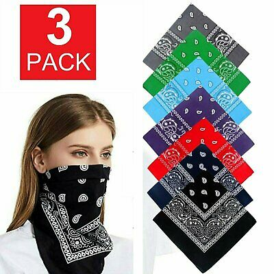 3-Pack Bandana 100% Cotton Paisley Print Double-Sided Scarf Head Neck Face Mask Clothing, Shoes & Accessories