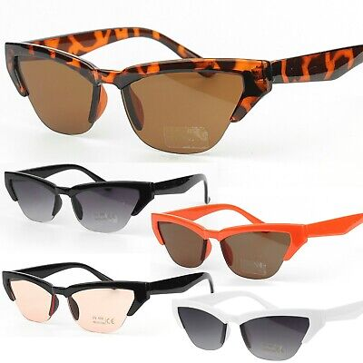 Womens Slim Cat Eye Part Rimless Sunglasses 100% UV Protection
