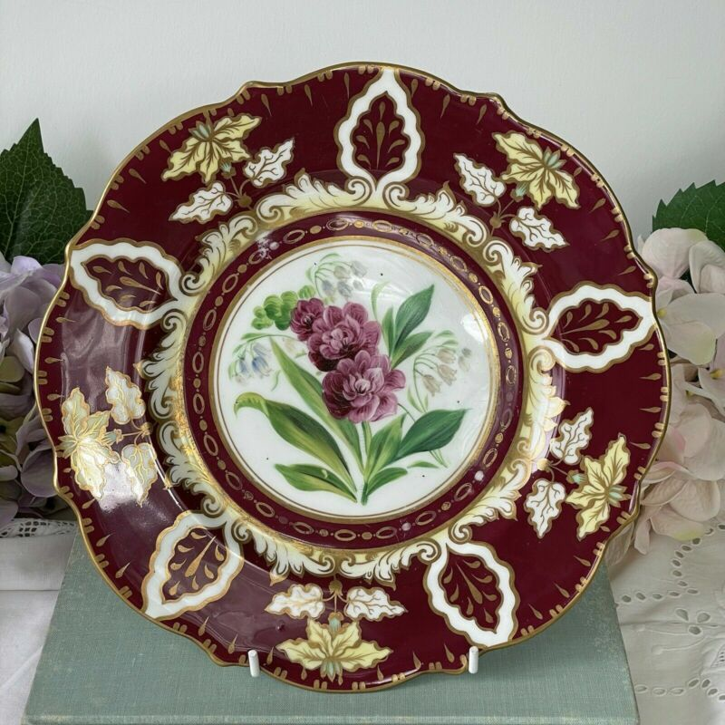 Antique Samuel Alcock porcelain dessert plate with central handpainted flower #1