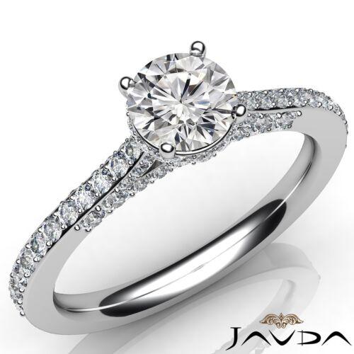 Round Brilliant Pave Diamond Engagement Ring GIA F VVS2 14k White Gold 1.36ct