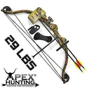 BRAND NEW 29 LBS APEX JUNIOR COMPOUND BOW CAMO ARCHERY HUNTING