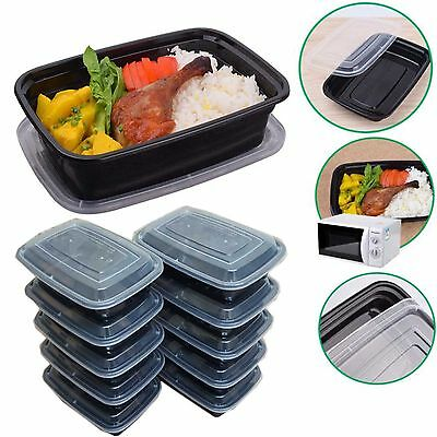 10PCS PLASTIC 1 COMPARTMENT FOOD STORAGE CONTAINER W/LID MEAL PREP LUNCH BOX SET