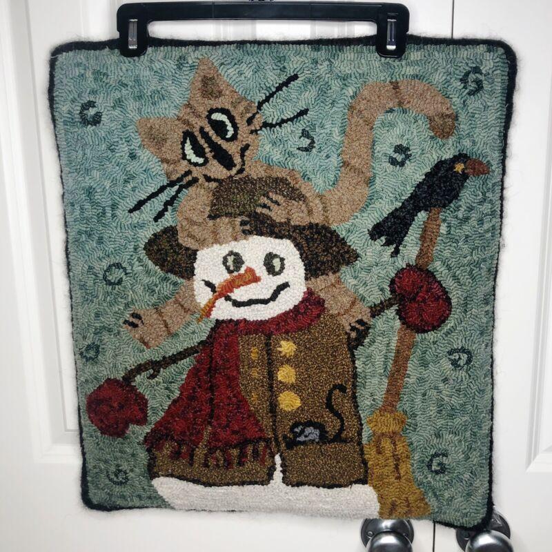 Primitive Hand Hooked Folk Art Wool Loop Rug SNOWMAN CAT CROW Debra St.Germain