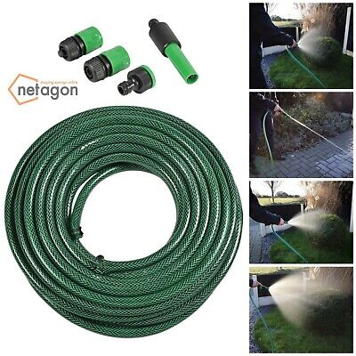 Mercury 20m Reinforced Durble PVC Outdoor Garden Hose Set with Nozzle Adaptors