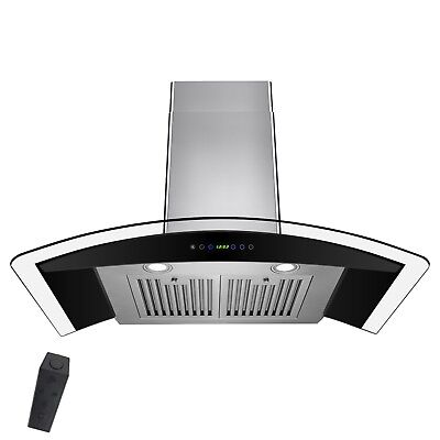 """30"""" Stainless Steel Wall Mount Range Hood with Gas Sensor Remote Control Glass"""