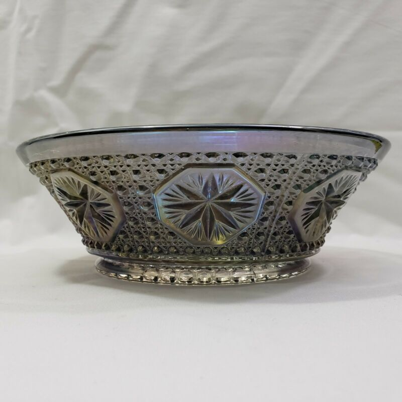 Vintage Imperial Star Medallion Smoke Bowl Carnival Glass