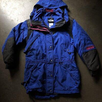 Women's Vintage The North Face Extreme Light Blue Color Block Parka Jacket Sz L Colorblock-parka