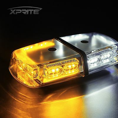 "Emergency Car Rooftop Magnetic Mount LED Strobe 12"" Mini Lights Bar White Amber"