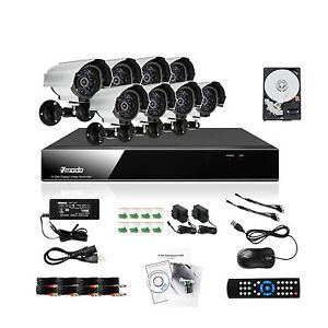 Zmodo 8 CH Channel DVR 8 Outdoor CCTV Home Security Camera System 1TB Hard Drive