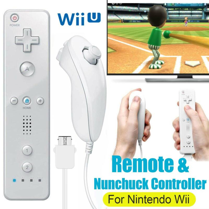 Remote Wiimote + Nunchuck Controller Set Combo for Nintendo Classic Wii U Games
