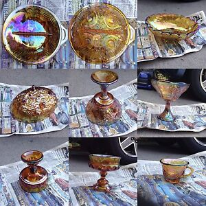 Antique Carnival Glass Dishes — amber, blue, green