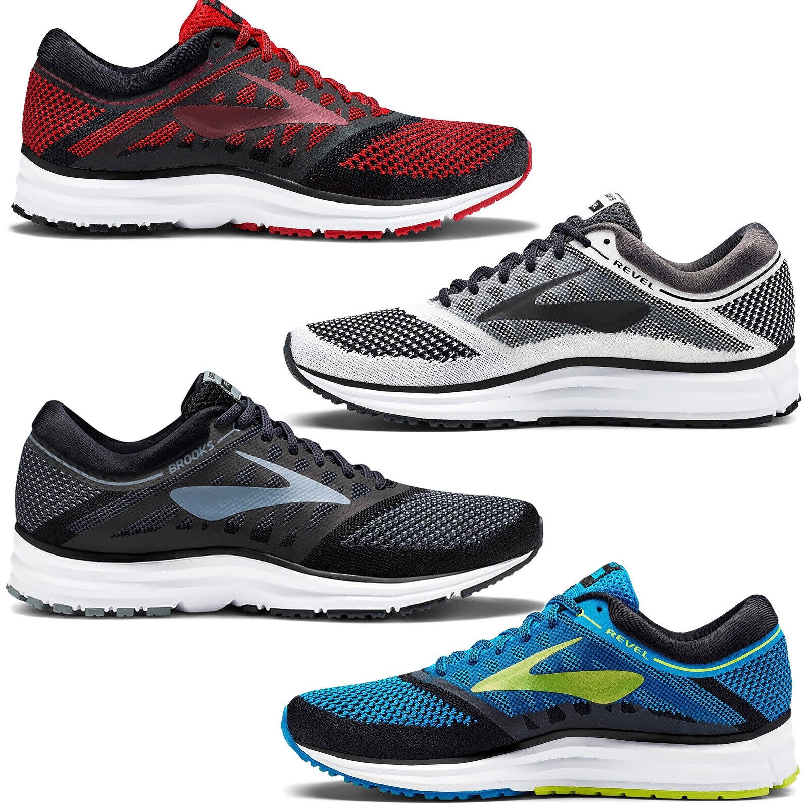 New BROOKS Revel Knit Road Running Shoes, Mens Sizes