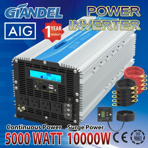 Power Inverter Modified Sine Wave 5000W/10000W 12V to 110v~120V USA Transistors