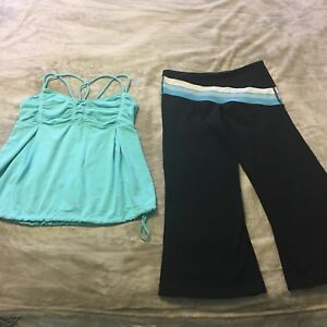 Lululemon crops and tank top size 8