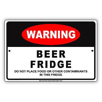 Warning Beer Fridge Wall Art Decor Novelty Notice Aluminum Metal Sign