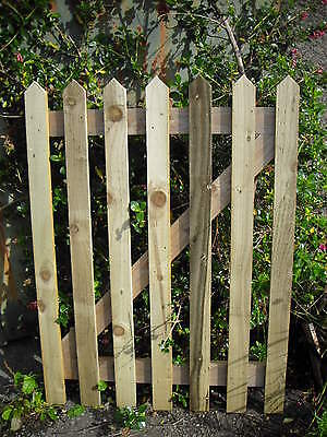 3' WIDE X 4' HIGH COUNTRY PICKET GARDEN GATE WOOD pointed top
