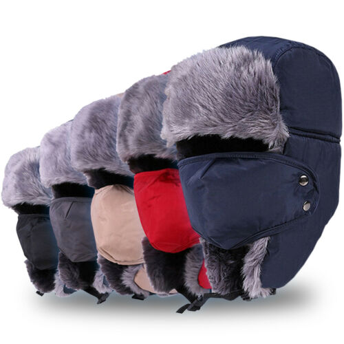 Men Women Thermal Fur Warm Aviator Trapper Hat Russian Trooper Earflap Ski Cap - $6.45
