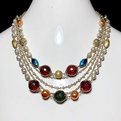 60s -70s Jewelry – Necklaces, Earrings, Rings, Bracelets Vintage 1960s Lucite Gold Tone Pearl Multi-Strand Beaded Necklace 60s 50s $24.54 AT vintagedancer.com