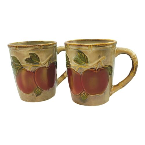 "Pair (2) of Apple Ceramic Brown Coffee Mugs 3""W, 3.75""H"