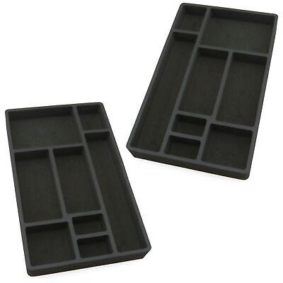 2 Drawer Organizers For Desk Black Insert Home Or Office 8 Slot 19.9 X 12.1