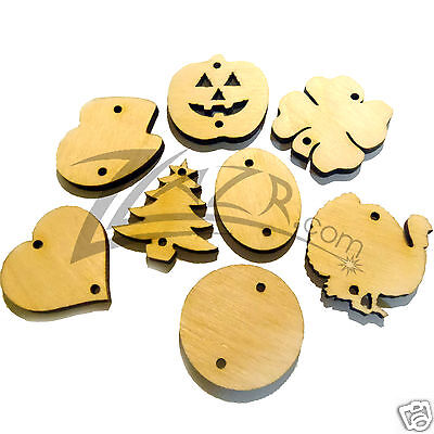 """(100) 1-1/4""""x1/8"""" Wooden Holiday Variety Craft Shapes with holes Wood Multi-Pack"""
