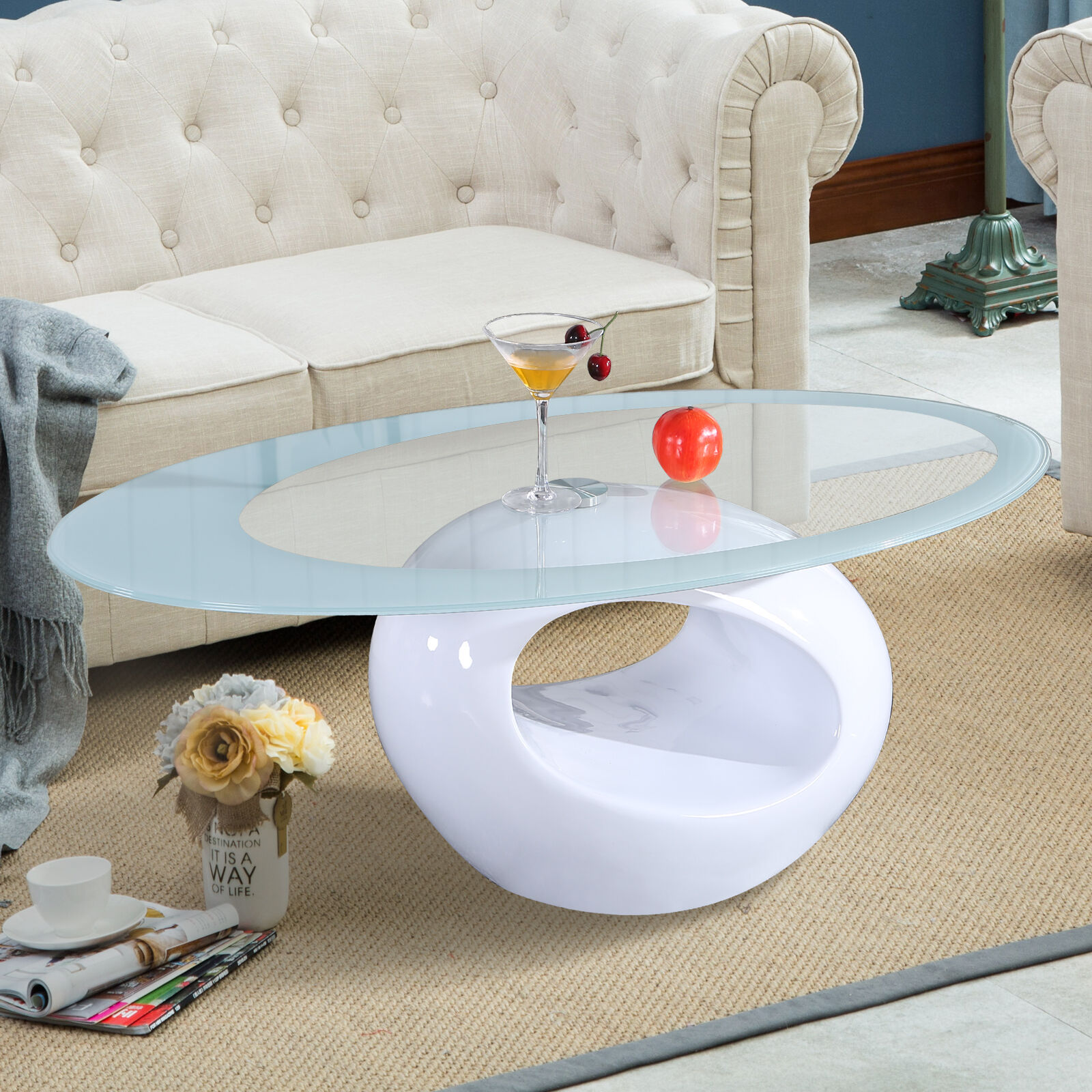 Ring Shaped Design High Gloss White Glass Coffee Table Living Room ...