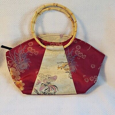 Japanes silk handbag,purse with bamboo handles