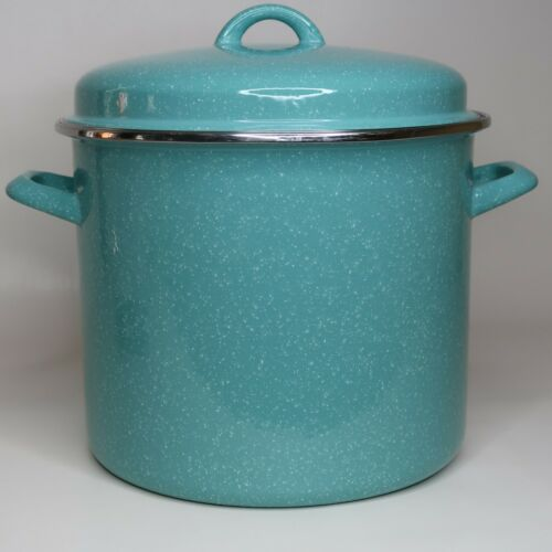 Pioneer Woman Stock Pot Turquoise Speckle HTF 12 Quart blue