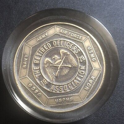 1929 The Retired Officers Association Medallion - Acrylic Paper Weight