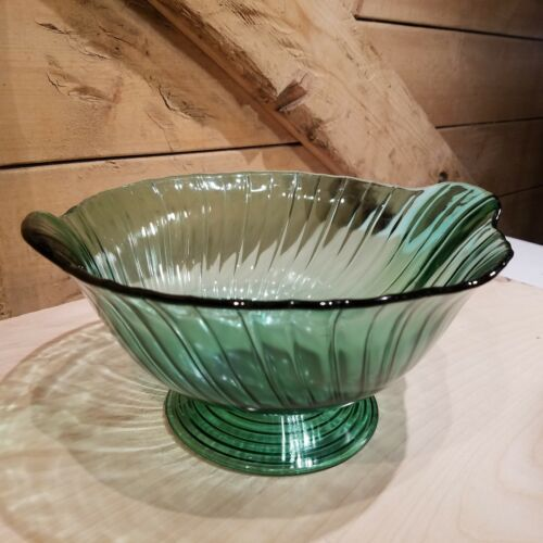 Jeannette Glass Co Ultramarine Petal Swirl Footed Salad Fruit Bowl - Swanky Barn