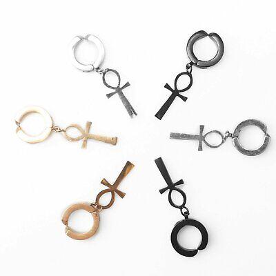 Non-Piercing Stainless Steel Ankh Egypt Cross Drop Dangle Hoop Earrings Earrings