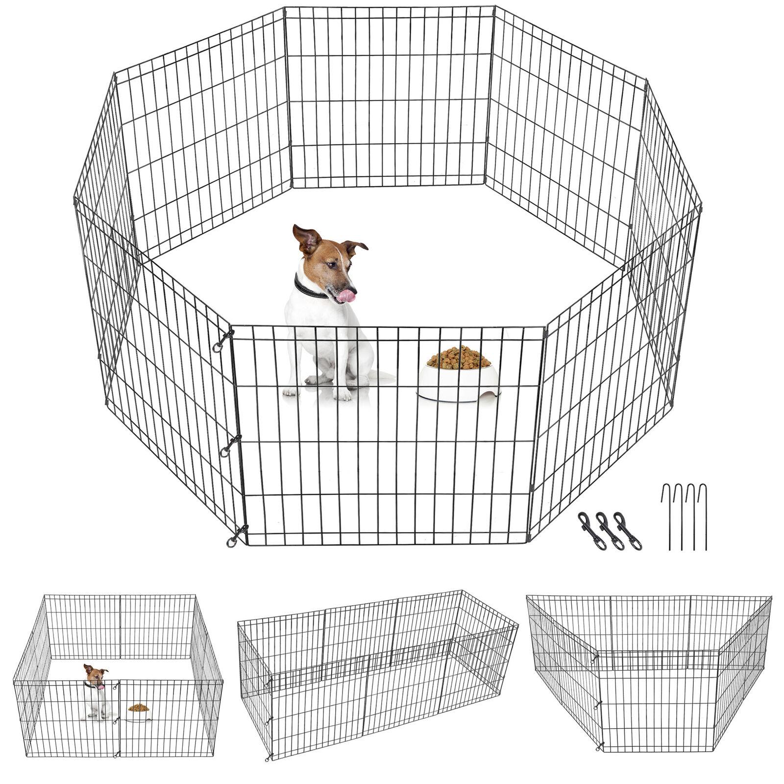 Pet Playpen 8 Panel Indoor Outdoor Metal Protable Folding Animal Exercise 24″ Dog Supplies