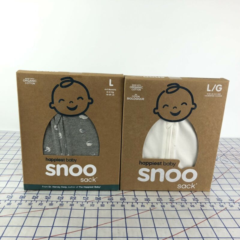 SNOO Sack Happiest Baby Gray White Space Organic Cotton Size Large 18-25 Lb